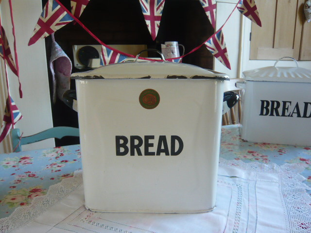 Z/SOLD - RARE TUBULAR BRAND ENAMEL BREAD BIN