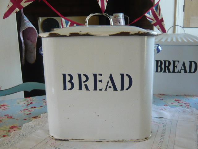 Z/SOLD -RARE EMBOSSED ENAMEL BREAD BIN