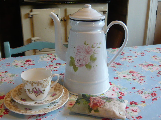 Z/SOLD - FRENCH VINTAGE FLORAL ENAMEL COFFEE POT