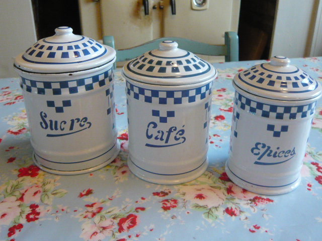 Z/SOLD -A FRENCH ENAMEL SET OF  COFFEE SUGAR SPICES POTS