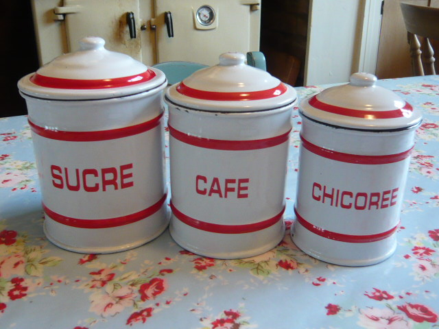 Z/SOLD FRENCH ENAMEL SET OF TEA  COFFEE SUGAR JARS