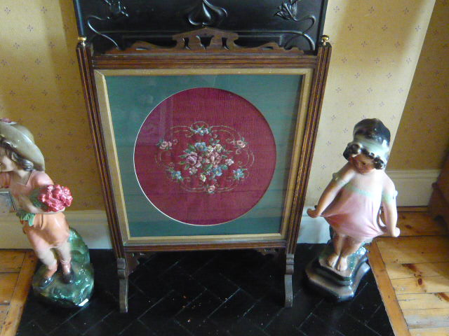 z/sold  VINTAGE NEEDLEPOINT FIRESCREEN