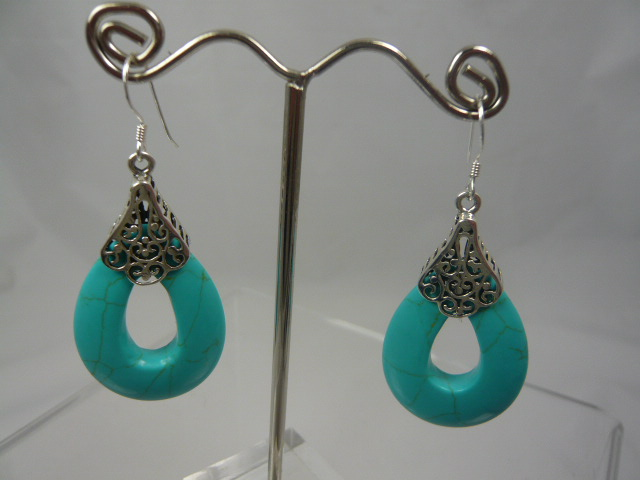 z/sold  A PAIR OF SILVER & TURQUOISE DROP EARINGS