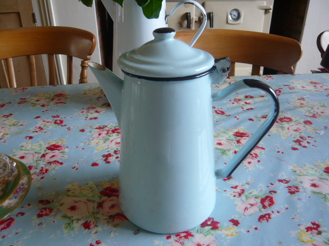 Z/SOLD - A FRENCH DUCK EGG BLUE ENAMEL COFFEE POT