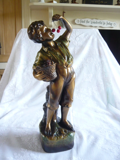 Z/SOLD - A VINTAGE CHERRY BOY CHALK FIGURE
