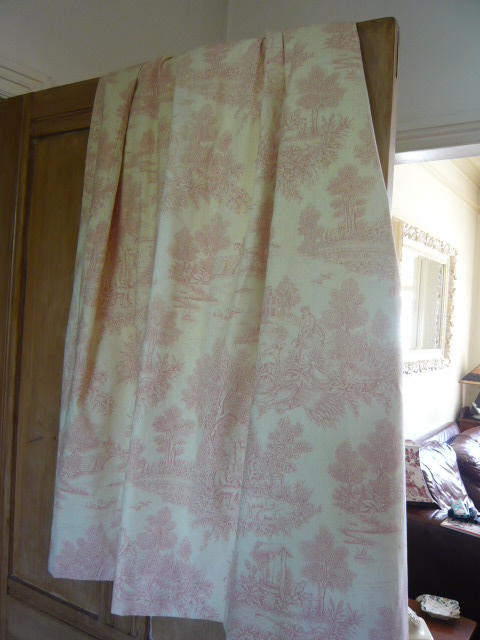Z/SOLD - PAIR TOILE DE JOUY CURTAINS IN CREAM & RASPBERRY