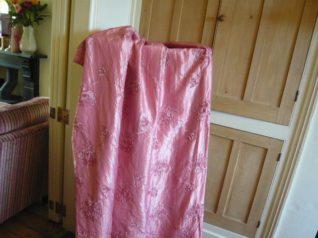 Z/SOLD - VINTAGE PINK SILK CURTAINS