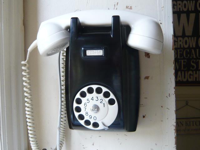 A VINTAGE ERICSSON BAKELITE WALL TELEPHONE