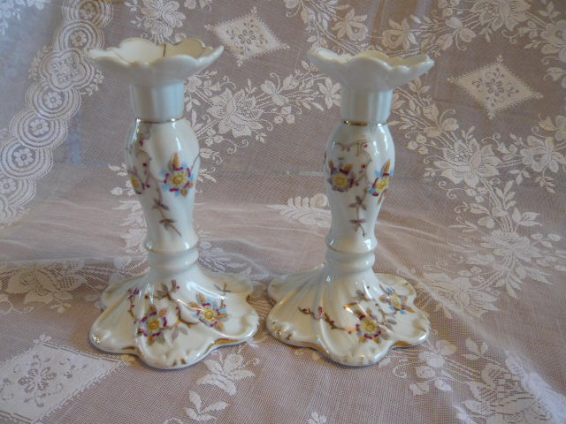 VINTAGE CHINA CANDLESTICKS