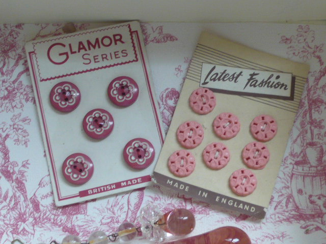 Z/SOLD  TWO SETS  OF VINTAGE PINK BUTTONS