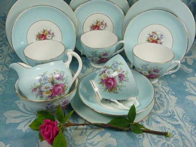 Z/SOLD -VINTAGE DORCHESTER CHINA TEA SET & VINTAGE DORCHESTER CHINA FLORAL TEA SET