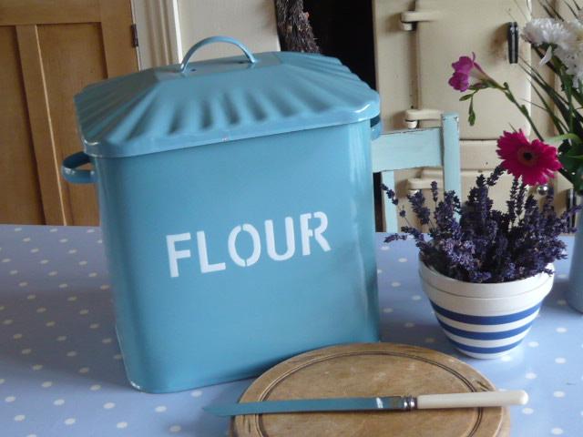 z/sold BLUE ENAMEL FLOUR BIN