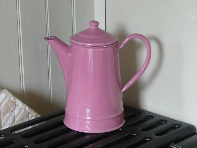 z/sold FRENCH PINK ENAMEL COFFEE POT/TEA POT