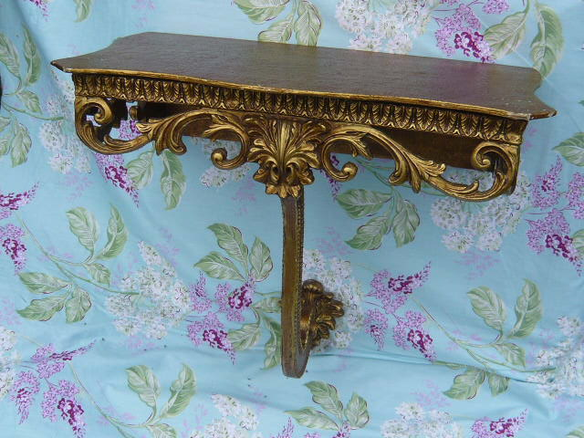 z/sold  VINTAGE SHABBY CHIC  GOLD SHELF  PLINTH