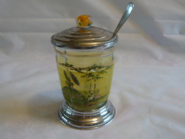 Z/SOLD - A DELIGHTFUL VINTAGE CRINOLINE LADY PICKLE JAR & FORK