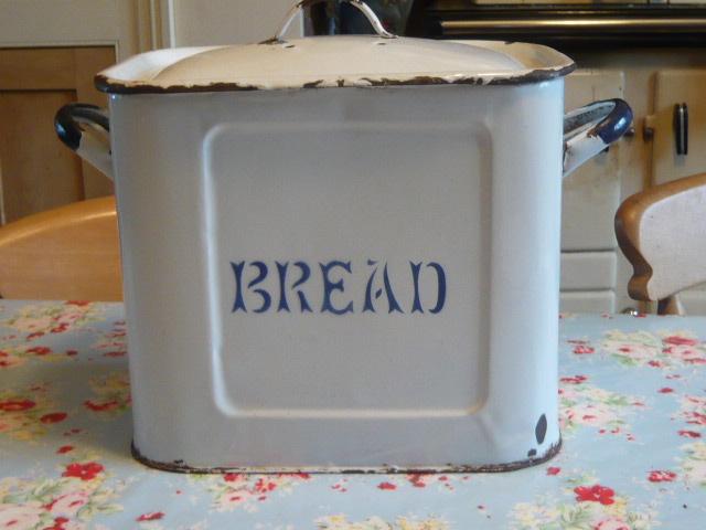 Z/SOLD - VINTAGE ENAMEL BREAD BIN