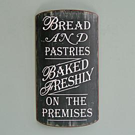 Z/SOLD - A SHABBY CHIC BREAD & PASTRIES TIN SIGN