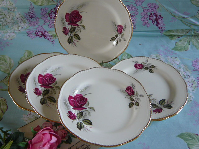 Z/SOLD VINTAGE SET OF TEA PLATES BY WOOD & SONS  HARVEST ROSE