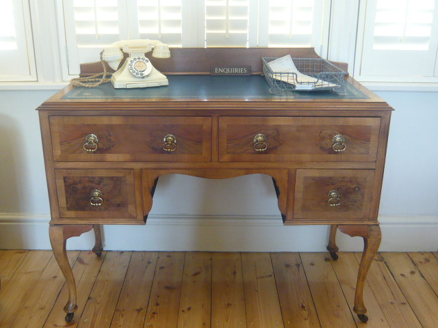 z/sold  VINTAGE BURR WALNUT WRITING DESK