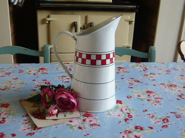 z/sold  A FRENCH ENAMEL RED & WHITE JUG