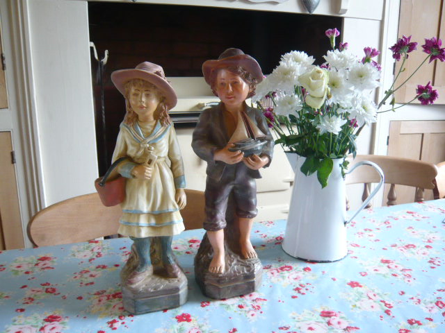 Z/SOLD - A PAIR OF VINTAGE CHALK SAILOR BOY & GIRL FIGURES