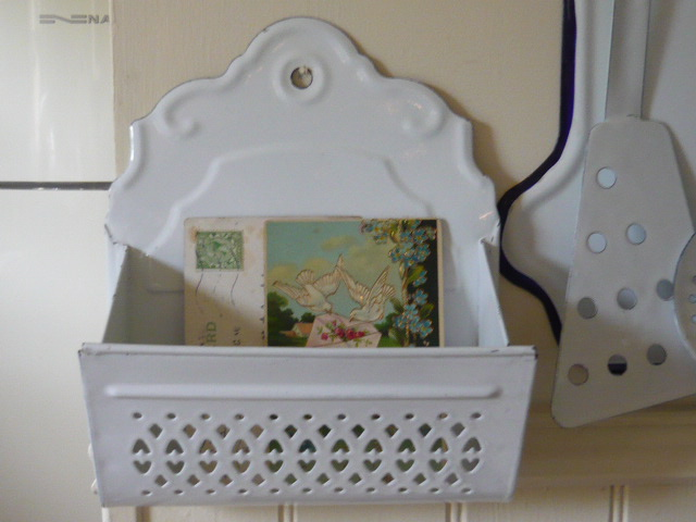 Z/SOLD - WHITE FRENCH ENAMEL LETTER RACK
