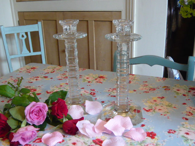 Z/SOLD - A PAIR OF VINTAGE FRENCH GLASS CANDLESTICKS