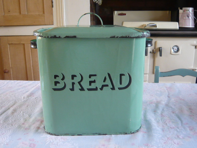 Z/SOLD - GREEN VINTAGE ENAMEL BREAD BIN