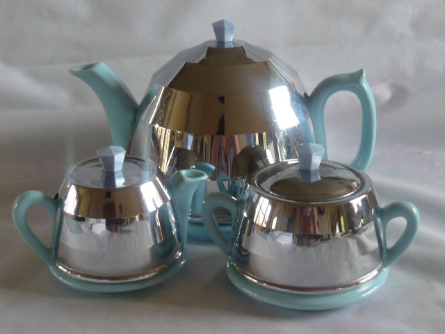 Z/SOLD - BEVERLEY TABLEWARE BLUE & CHROME TEASET
