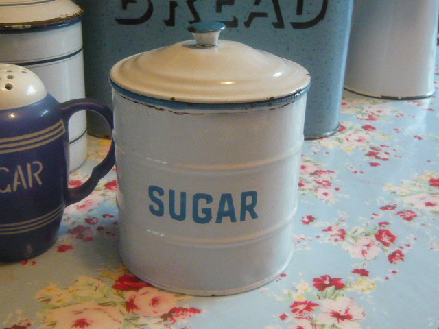 Z/SOLD VINTAGE ENAMEL SUGAR JAR