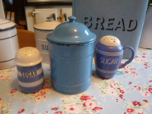 Z/SOLD - BLUE ENAMEL VINTAGE STORAGE JAR