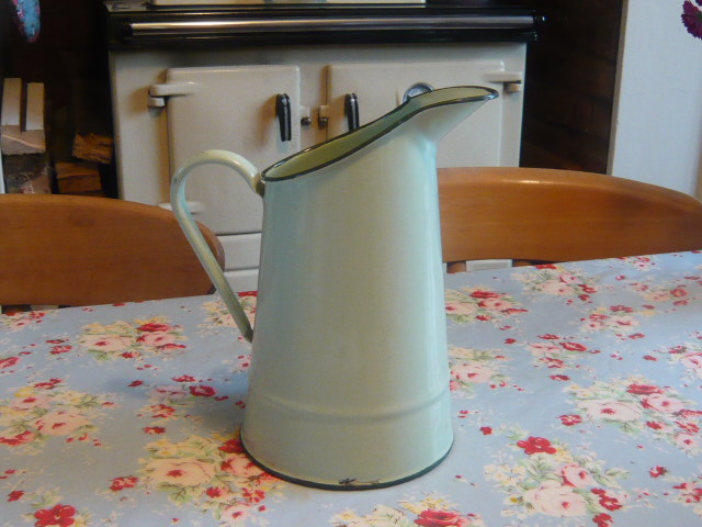 Z/SOLD - -FRENCH GREEN VINTAGE ENAMEL JUG