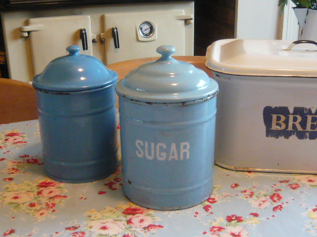 Z/SOLD - BLUE ENAMEL VINTAGE SUGAR JAR