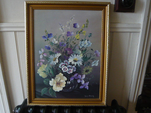 z/sold VINTAGE FLORAL PRINT BY MARY BROWN  PRINT