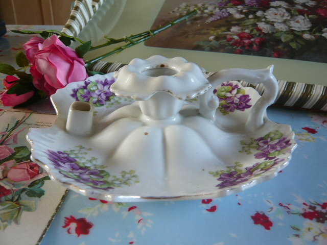 Z/SOLD - LILAC FLORAL CANDLESTICK