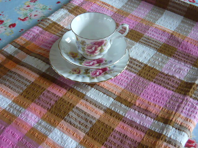 z/sold -VINTAGE TABLECLOTH IN PINK CHECKED CHEESECLOTH