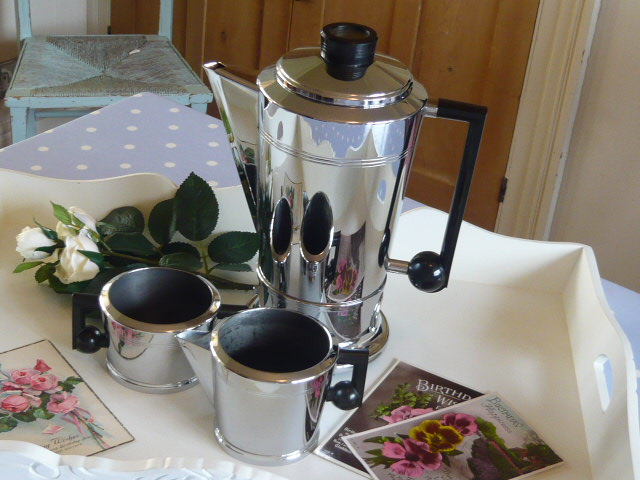 z/sold  ART DECO CHROME COFFEE SET