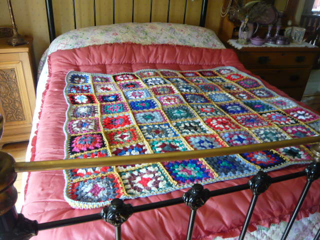 z/sold  MULTI COLOURED GRANNY BLANKET