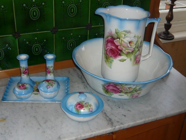Z/SOLD  A ABSOLUTELY STUNNING JUG & BOWL & DRESSING TABLE SET