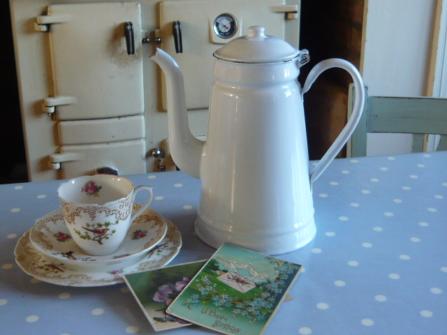 Z/SOLD - A FRENCH ENAMEL WHITE SHABBY CHIC COFFEE POT