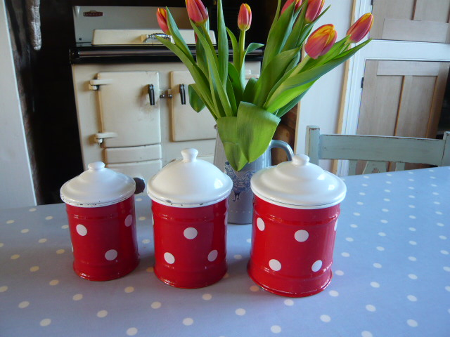 Z/SOLD - RETRO SPOTTY ENAMEL SET OF TEA COFFEE SUGAR CANISTERS