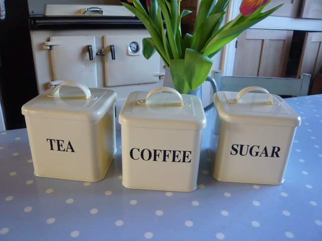 Z/SOLD  CREAM SET OF TEA COFFEE SUGAR CANISTERS