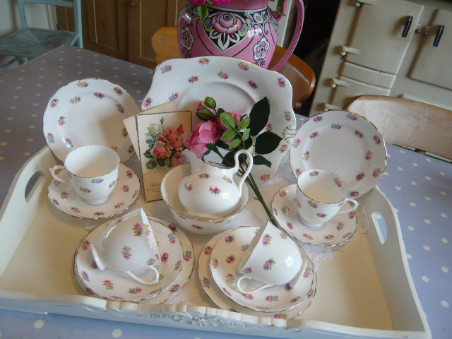 Z/SOLD  Vintage tea set by Tuscan  roses
