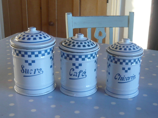 z/sold  A FRENCH ENAMEL SET OF TEA COFFEE SUGAR POTS