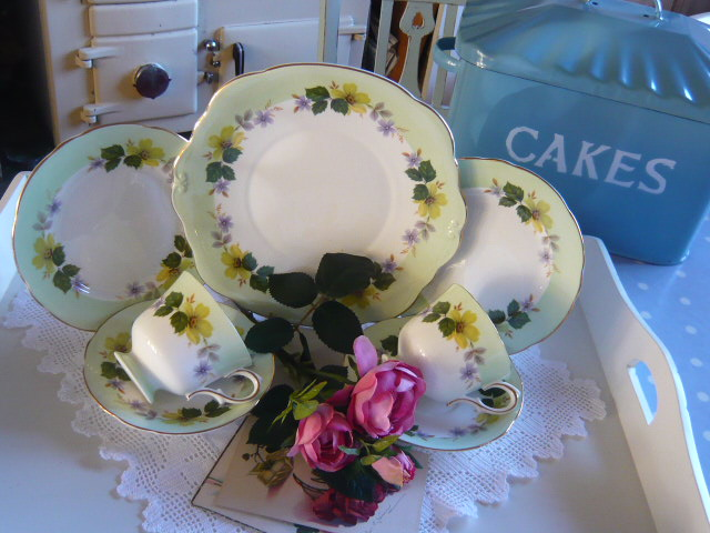 Z/SOLD  Vintage tea for two green floral