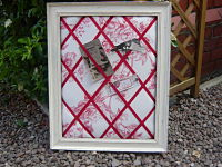 z/sold  VINTAGE TOILE NOTICEBOARD  MEMO BOARD