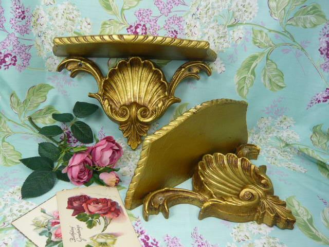 Z/SOLD  VINTAGE PAIR OF GOLD SHELVES / PLINTHS