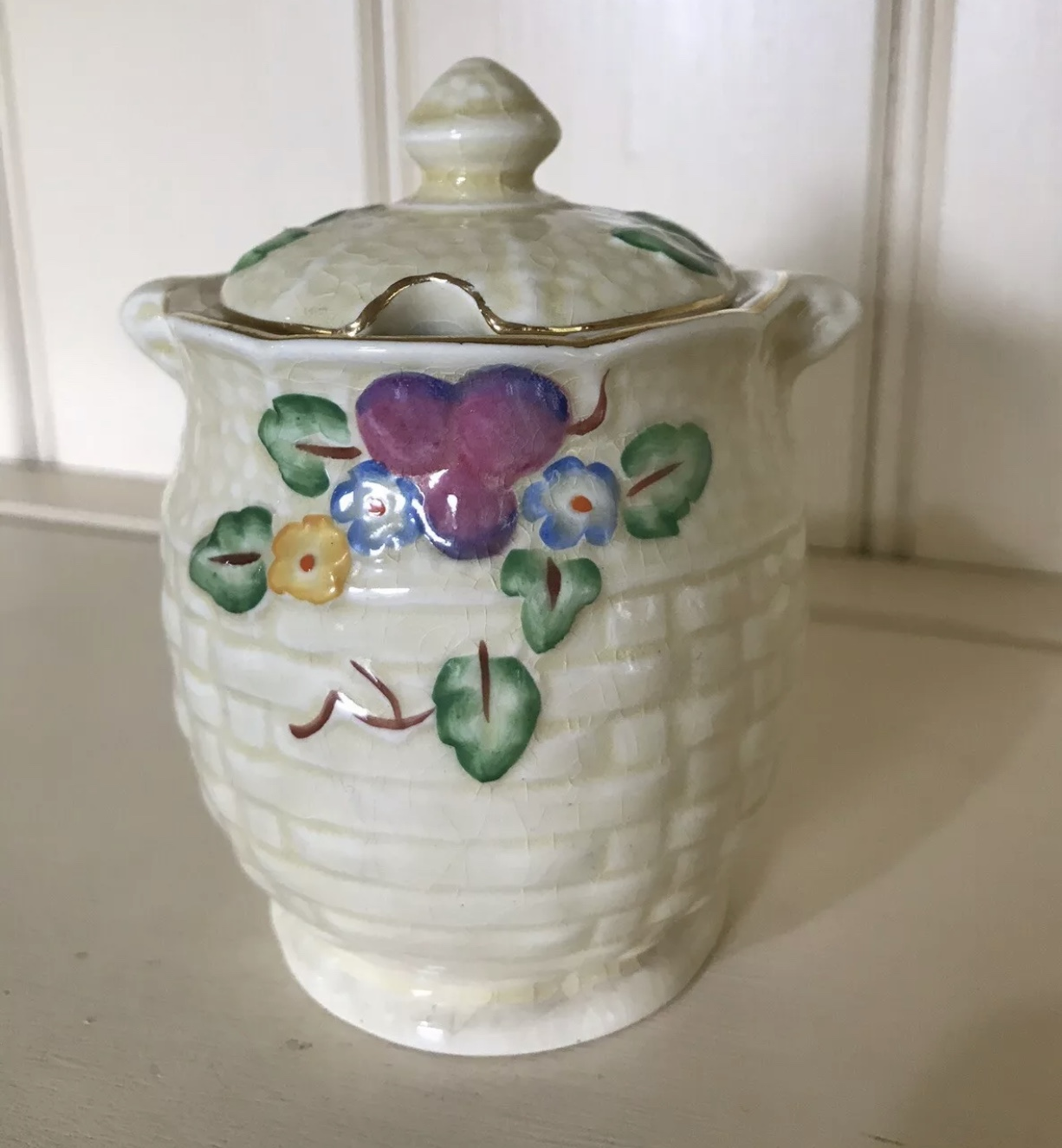 Vintage Crown Devon honeypot