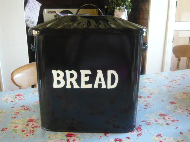Z/SOLD - RARE BLACK ENAMEL BREAD BIN