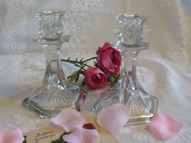 Z/SOLD VINTAGE GLASS CANDLESTICKS
